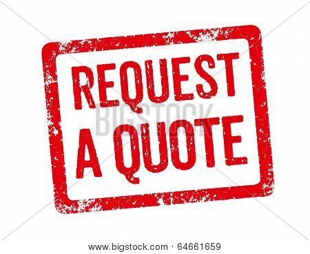 Red Stamp on a white background - Request a quote