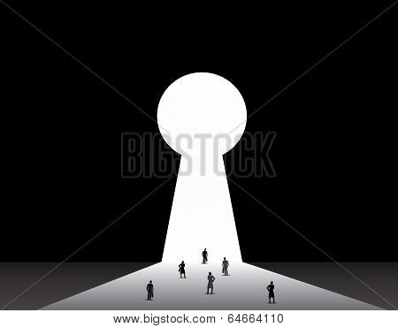 Nicely Dressed Silhouette professional Businessmen & Businesswomen Front Of Key Hole Door Concept