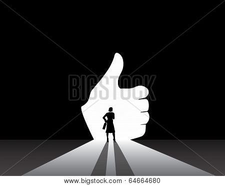 Nicely Dressed Silhouette Business Woman Silhouette Standing Front Of Thumbs Up Hand Door