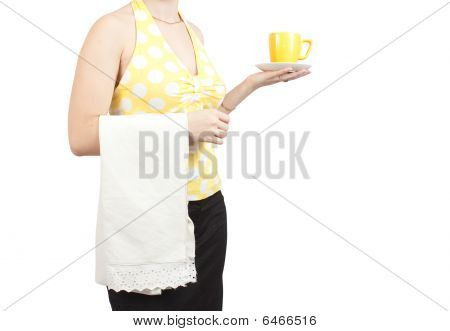 Bartender Girl With A Cup Of Coffee . Close Up