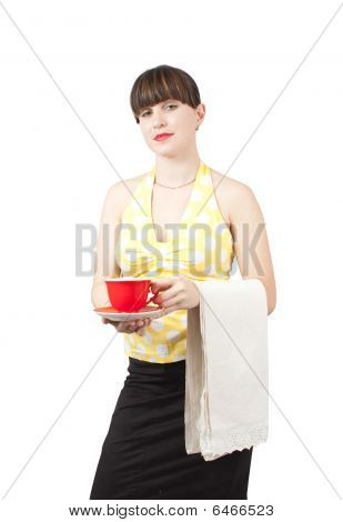 Bartender Girl With A Cup Of Coffe