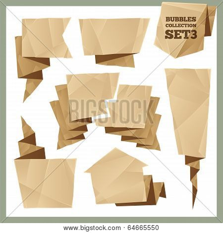 Crumpled Paper Speech Bubbles Collection