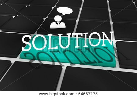 The word solution and businessman and speech bubble against black keyboard with blue key