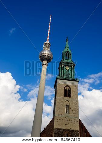 View of Tv Tower of Berlin with Maria church