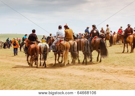 Group Of Horseback Spectators On Steppe, Nadaam Horse Race