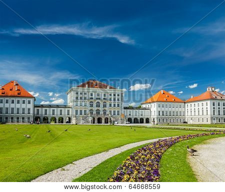 MUNICH, GERMANY - MAY 8, 2012: Goose in garden in front of the Nymphenburg Palace. Munich, Bavaria, Germany