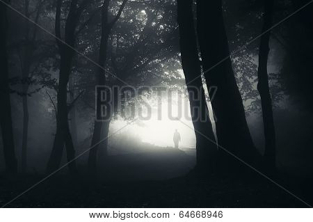 Shadow of man in dark mysterious fog