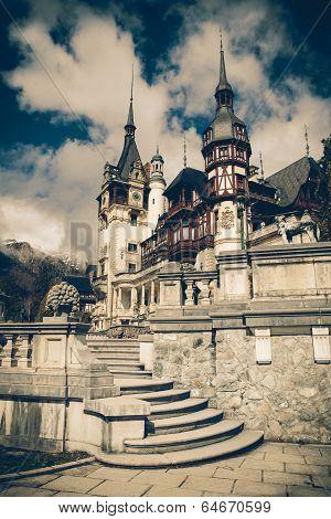 View Of Peles Castle Tower, Sinaia Romania,vintage Coaster