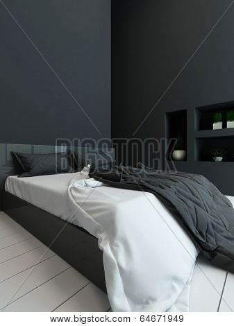 Picture of black colored bedroom interior with alcove