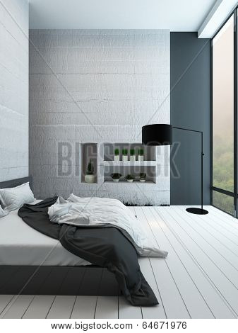 Picture of contemporary white bedroom with alcove