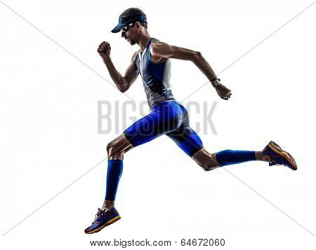 man triathlon iron man athlete runners running in silhouettes on white background