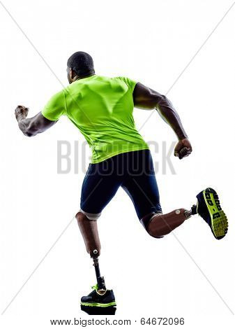 one muscular handicapped man with legs prosthesis in silhouettes on white background