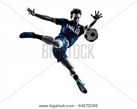 one italian soccer players man playing football jumping in silhouettes white background