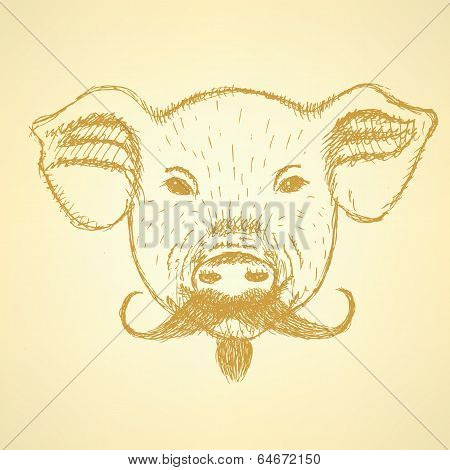 Sketch Pig With Mustache, Vector Background