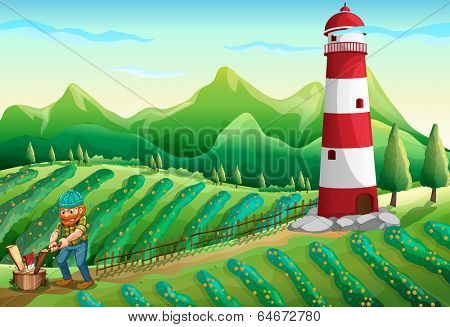 Illustration of a lumberjack at the farm with a tower