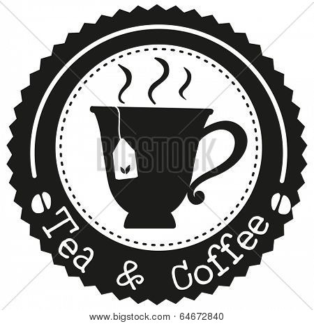 Illustration of a tea and coffee label with a cup of tea on a white background