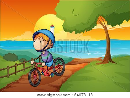 Illustration of a young boy biking near the river