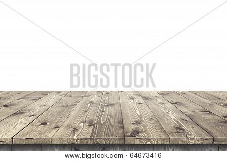 Empty wooden table for product placement or montage