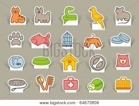 Pet care icon set