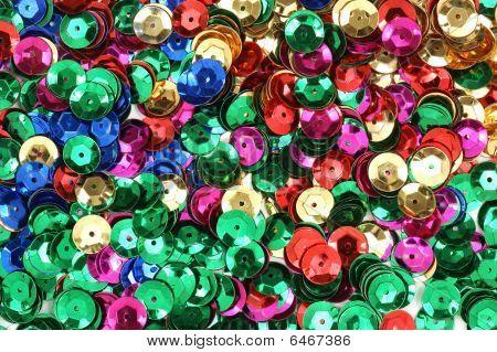 Different colored sequins for craft use