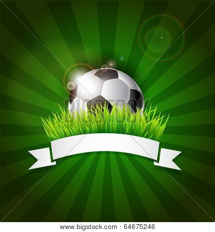 Soccer Ball In Grass With Banner