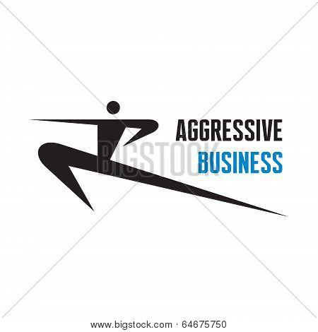 Aggressive Business - vector logo sign