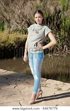 Fashionable Girl In Blouse