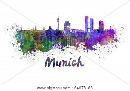Munich Skyline In Watercolor