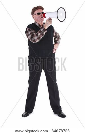 Senior Man Shouting Through Megaphone Over White Background