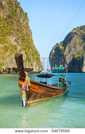 Longtail boat in Maya Bay, Koh Phi Phi Leh, Krabi, Thailand