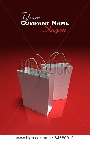 3D rendering of a pair of high quality white shopping bags against a shinny red background