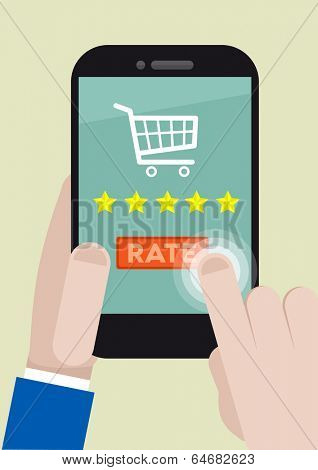 minimalistic illustration of a shopping five star rating system on a mobile phone, eps10 vector