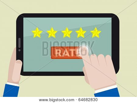 minimalistic illustration of hands holding a tablet computer with rating system and hand pushing the button, eps10 vector