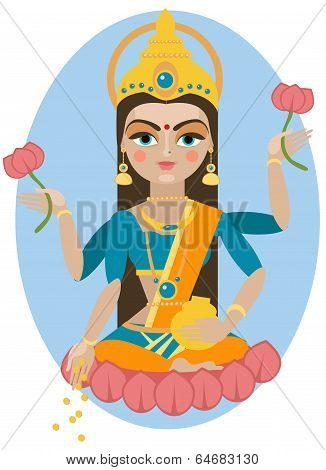 Lakshmi deity illustration.