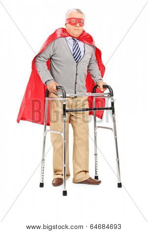 Mature superhero walking with walker isolated on white background