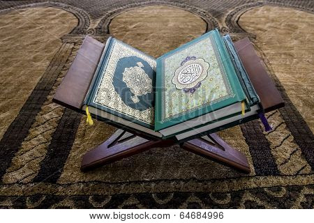 Religious Book And The Koran In The Mosque On Stand