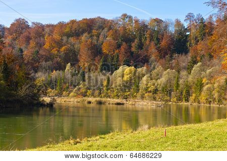 Autumn At The Isar, Bavaria, Germany