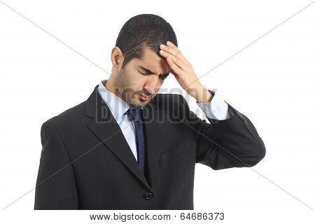 Arab Business Man Worried With Headache
