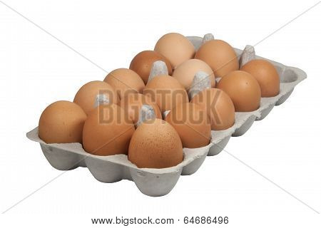 Cardboard Eggbox Filled With Freshly Laid Brown Eggs