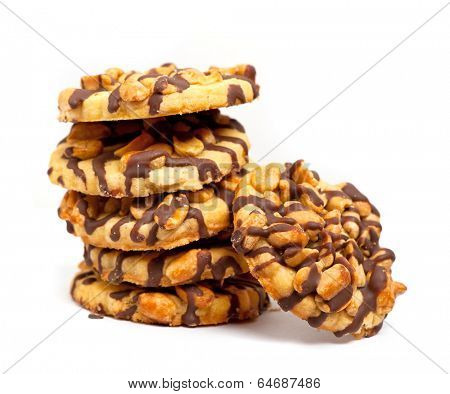 Chocolate chip cookies with peanuts isolated on white background