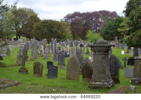 Graveyard and headstones