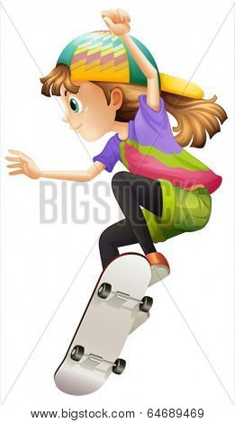 Illustration of a young woman skateboarding on a white background