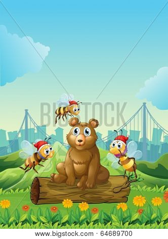 Illustration of a big bear above the log with three bees
