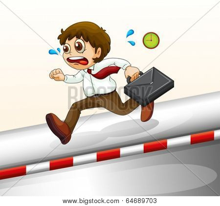 Illustration of a man running hurriedly on a white background