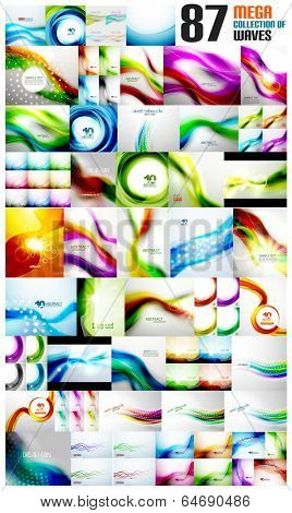 Mega collection of wave abstract backgrounds with copy space. For business / tech design templates, web design, presentations
