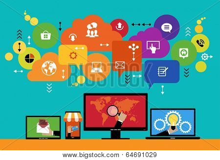 Flat design vector concept network marketing. Smartphone, tablet, laptop, monitor surrounded interface icons, speech bubbles and clouds. File is saved in AI10 EPS version.