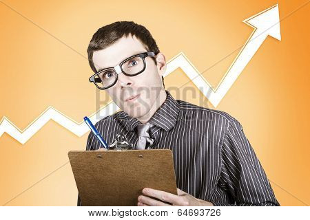 Nerd Stock Market Analyst Writing Finance Report