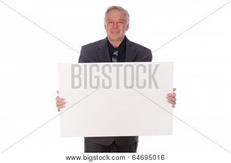 Man holding white placard with room for your text, isolated  over a white background