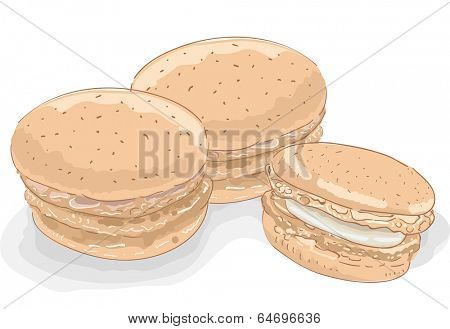 Sketchy Illustration Featuring Macaroons Oozing with Fillings