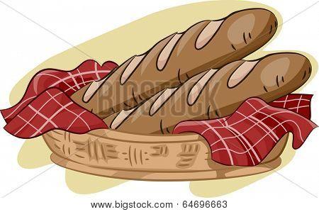 Illustration Featuring a Basket of Baguette